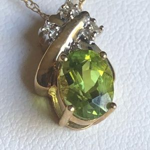 Peridot necklace with diamond chips August Bday